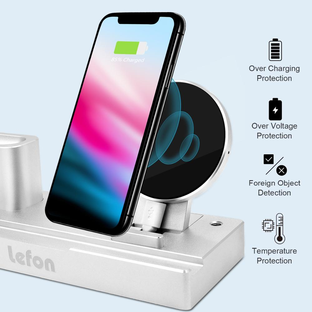 Image 2 - Lefon Qi Wireless Charger Charging Station for iPhone Samsung Smartphone Aluminum Charger Stand for Airpods Apple Watch Pencil-in Chargers from Consumer Electronics