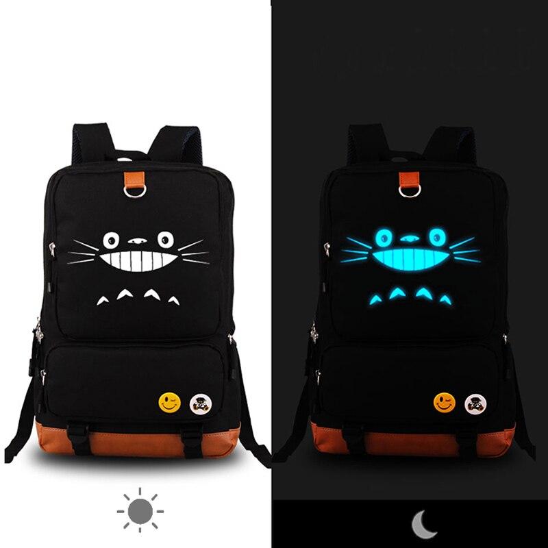 High Quality 201 Luminous Anime Totoro Backpack Printing Men's Backpacks School Backpacks Military Laptop Rucksack