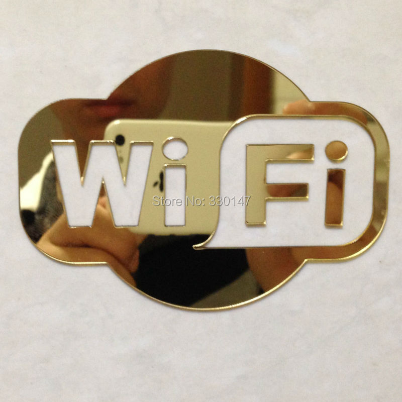 WIFI Sign Mirrored Sticker for Glass Door of Coffee Shop Restaurant Hotels Bedrijventerrein Acryl Spiegeldecoratie