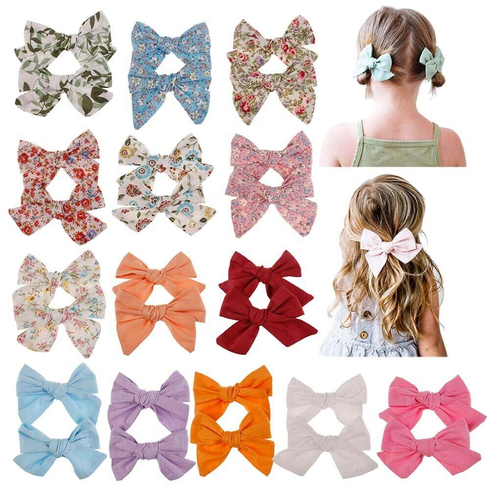 2Pcs Big Hair Bows Knot Hair Clips Girls Infant Toddler Headband Sets New