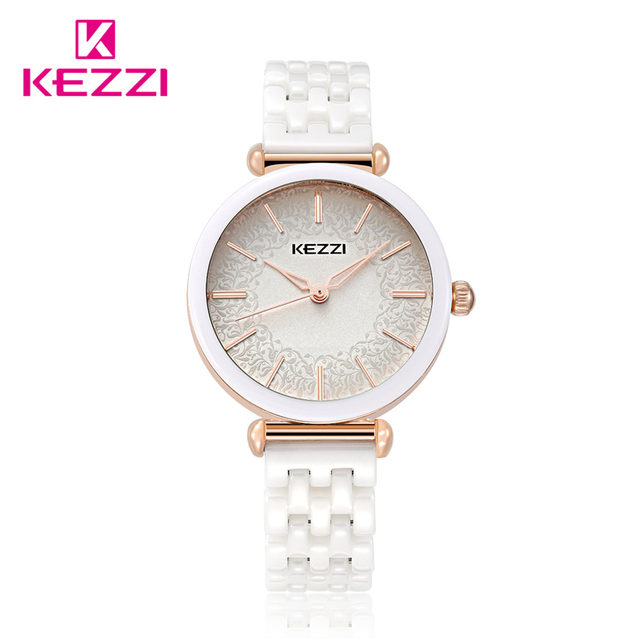 Kezzi Top Brand Woman watches Fashion Ladies Crystal Clock White Ceramics Gold L