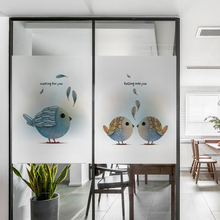 Frosted glass stickers Nordic Ins Birdie Bathrooms balcony door windows electrostatic transparent opaque film