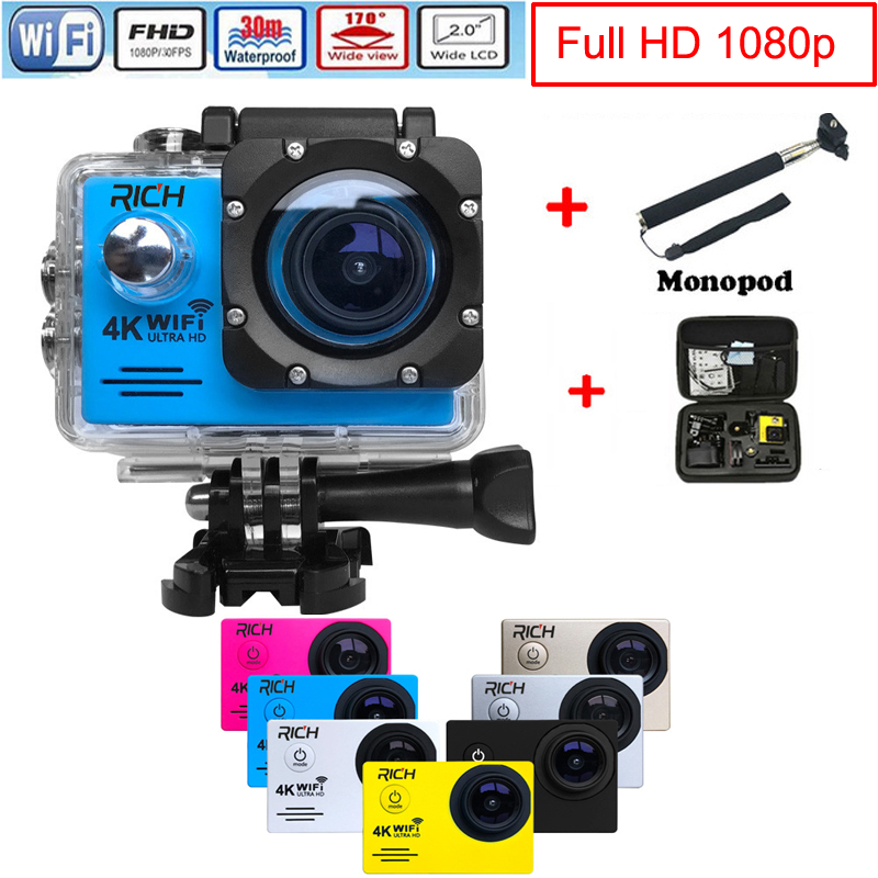Delicious 2019 New Action Camera Wifi For Go Pro Hero 4 Sport Camera 1080p Hd 30m Waterproof Sports Camrea Extra Head Strap+bag+monopod Catalogues Will Be Sent Upon Request