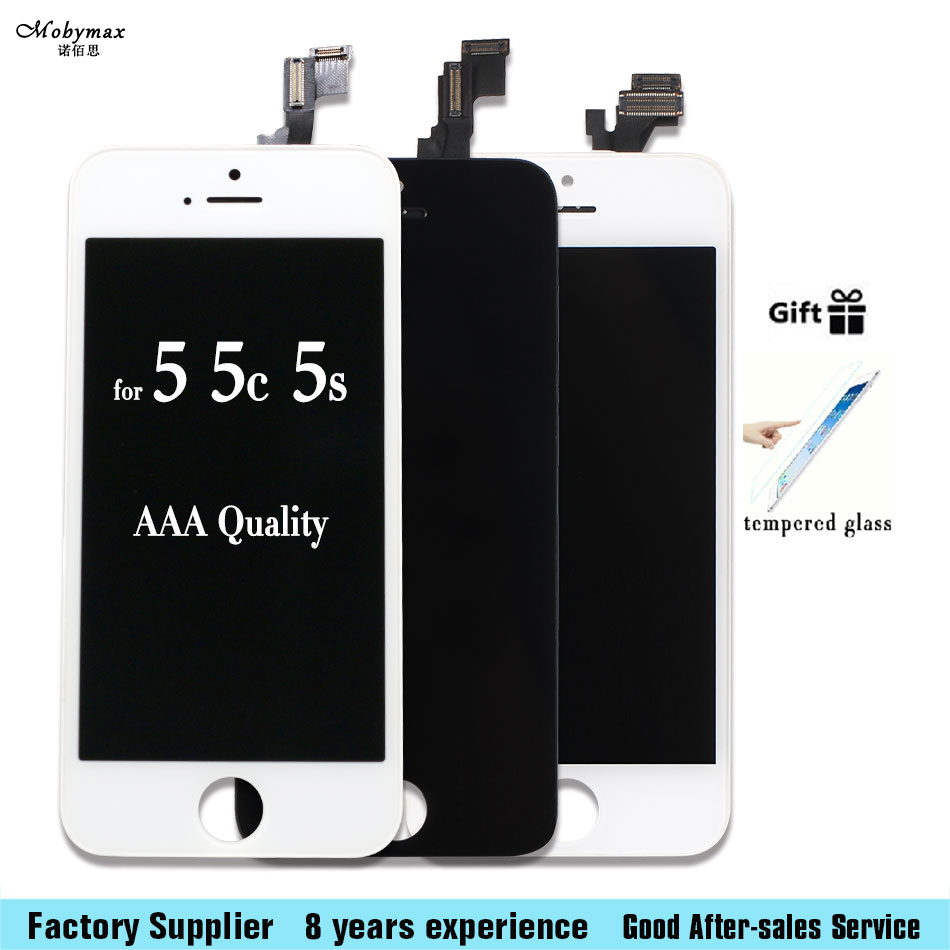Mobymax LCD Screen Display For Iphone 5 5S 6 6S 7 LCD Display Touch Screen Front Glass Digitizer Glass assembly 3pcs/lot image