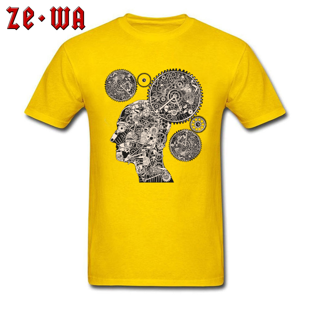 Tops T Shirt T Shirt Clock Machine Gear Mechanism Autumn Short Sleeve 100% Cotton Crew Neck Men Tshirts Slim Fit Graphic Clock Machine Gear Mechanism yellow