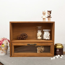 Деревянный ящик для шкафа, органайзер для хранения, стеклянный ящик, винтажный 30*12*24 см