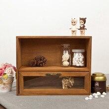 Gabinete de madera caja organizador almacenamiento vidrio cajón Vintage 30*12*24CM