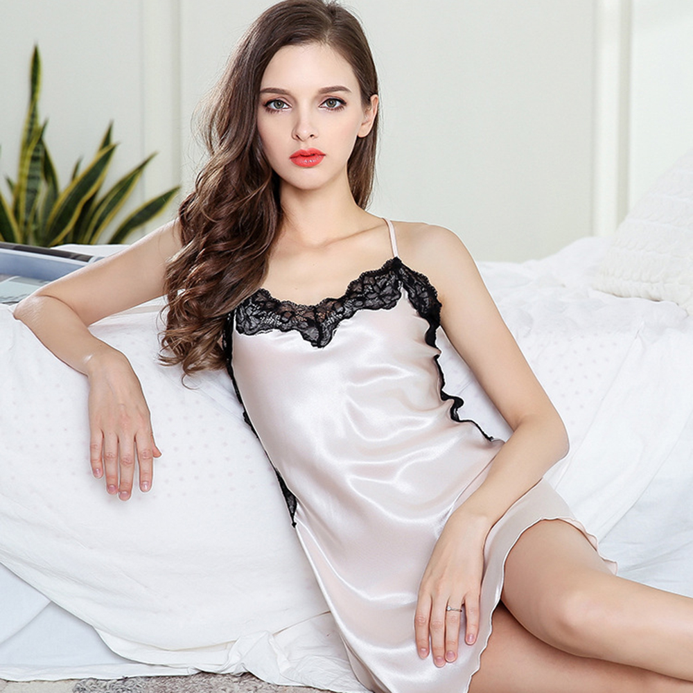 2018 Women Summer Sexy Nightgown Sleeveless Spaghetti Strap Faux Silk Lace Sleepwear Sexy Ladies Solid Mini