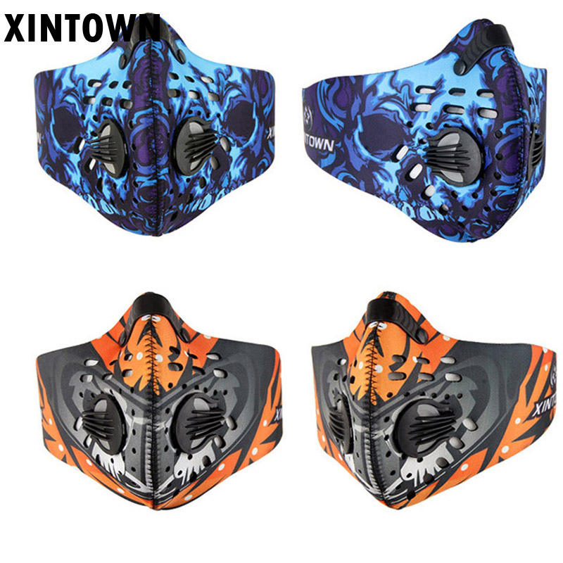 30PCSLOT Pm2.5 breathable Women Men Sports Cycling Carbon Filters Mask Dust Smog Protective Half Face Neoprene Mask