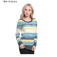 MS VASSA Women Sweaters 2017 New Winter Autumn stripe Casual ladies Jumpers O neck Knitted Female pullovers oversized Euro 54