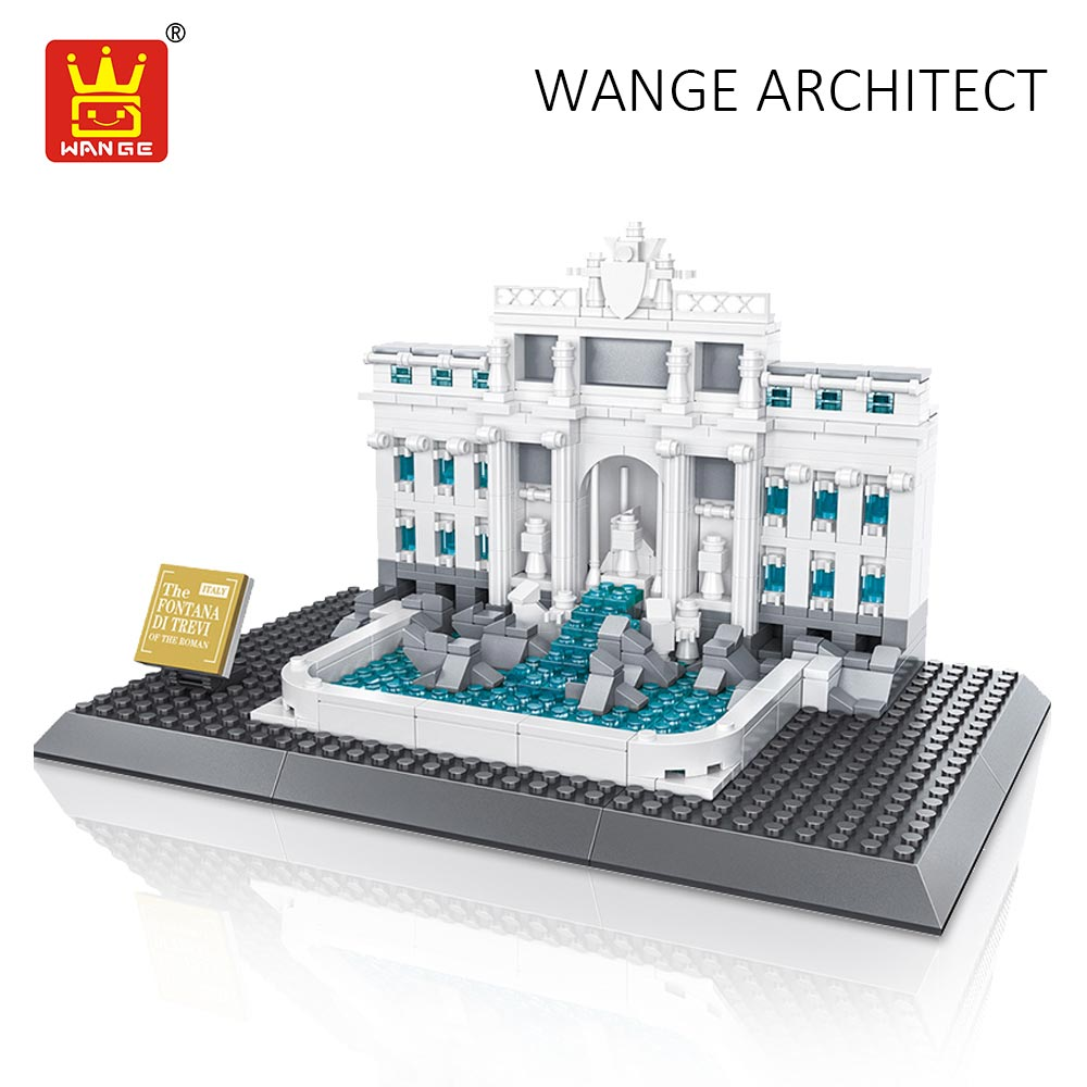 WANGE Toys Compatible Building Blocks City Diy Creative Bricks World Great Architecture Trevi Fountain Kids Assembly Toys Gift hot sembo block compatible lepin architecture city building blocks led light bricks apple flagship store toys for children gift