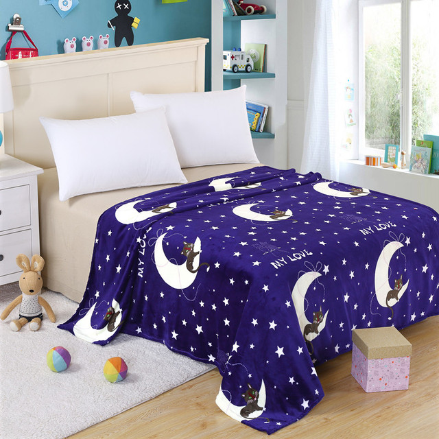 cheap big size coral fleece night star moon pattern blanket on the
