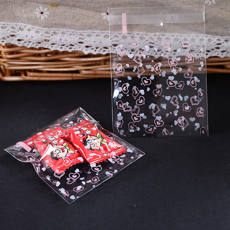 Cheapest 100 pcs /lot  70x70mm Cute Cookie Packaging Self-adhesive Snowflower Plastic Bag Biscuits Snack Baking Package 70x100mm