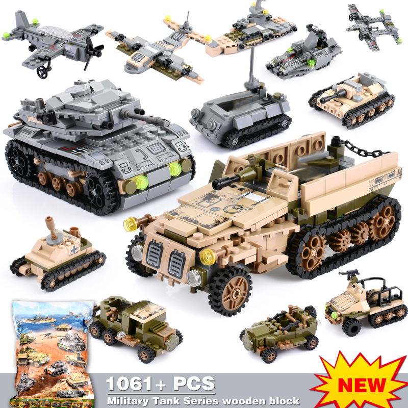 1061+PCS Building Block Compatible LegoINGlys City Blocks Army Truck Building Blocks Military Vehicle Playmobil Toy For Children-in Blocks from Toys & Hobbies