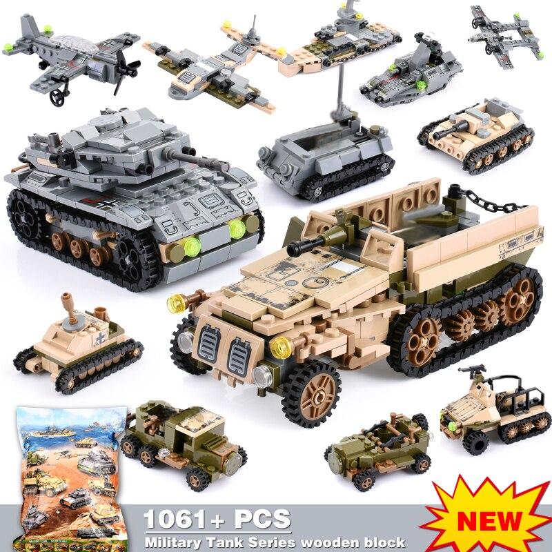 1061+PCS Building Block Compatible LegoINGlys City Blocks Army Truck Building Blocks Military Vehicle Playmobil Toy For Children