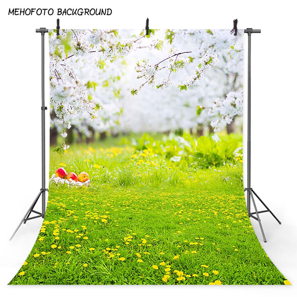 Mehofoto Spring Flower Scenery Photography Backdrop Green Grass Photo Booth Background Studio Easter View Art Photo Poster 380 in Background from Consumer Electronics