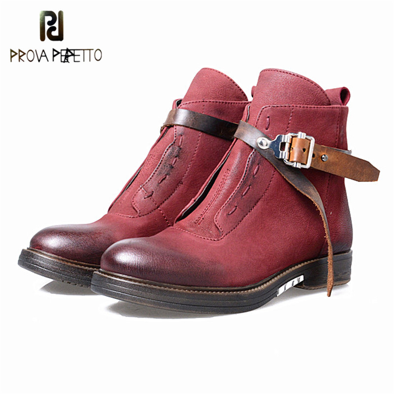 Prova Perfetto England Retro Round Toe Ankle Buckle Strap Low Heels Boots Real Leather Do The Old Zipper-Side Women Short Boots franke old england 115 0180 673