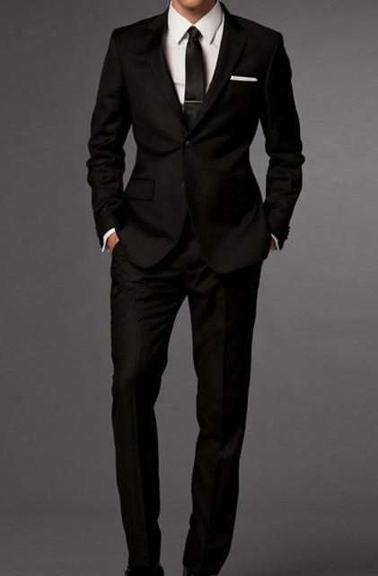 2017 New Arrival Custom Made Black Groom Tuxedos Notch Lapel Groomsmen Men Wedding Suits(Jacket+Pants+Tie)