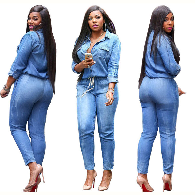 Plus Size 3XL Fashion Jeans Women Sexy Slim Pants Blue Feminino Spring Lady Denim Jumpsuit Women Long Sleeve Lapel Belt Rompers