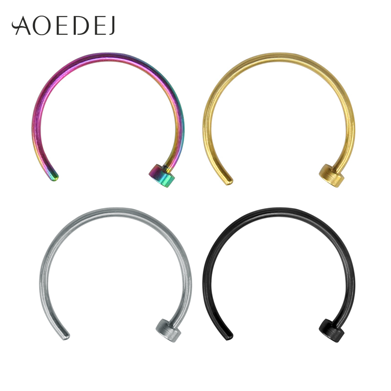 Us 1 45 25 Off 4 Colors Nose Rings And Studs Stainless Steel Real Piercing Indian Nose Ring Jewelry Hoop Labret Lip Piercing Jewelry Hoops In Body