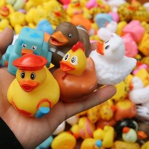 Image 4 - ESALINK 100PCS 목욕 장난감 무작위 고무 오리 멀티 스타일 오리 아기 목욕 욕실 물 장난감 수영장 부동 장난감 오리