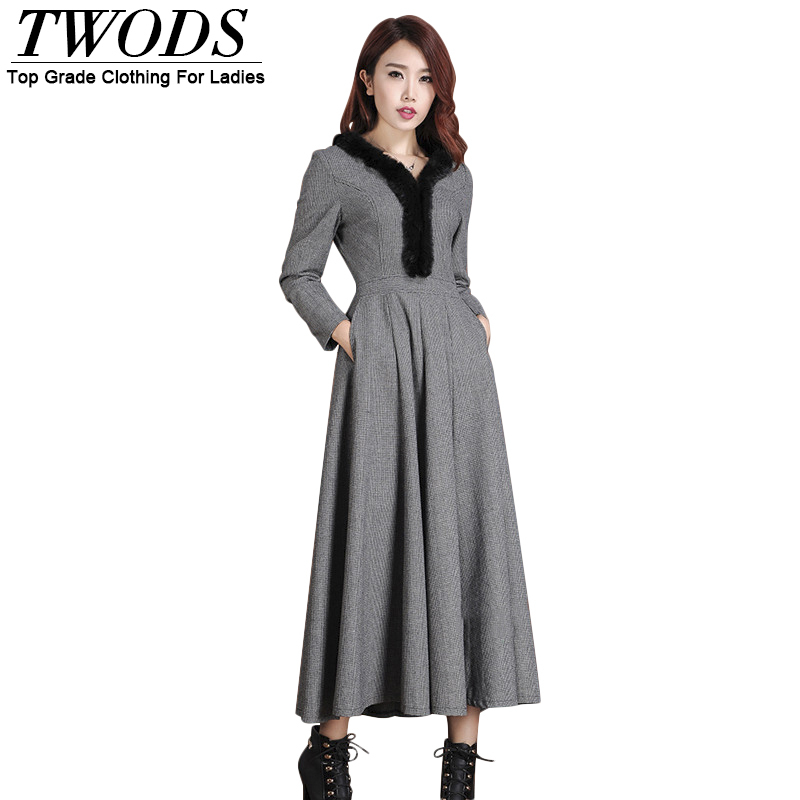 Twods 2016 New Autumn And Winter Long Wool Dress Fur Collar Grey Wool Maxi Dress Swing Warm