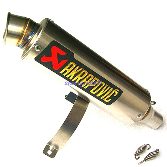 Universal Inlet 51mm 61mm 63mm 65mm Customized Motorcycle Exhaust Pipe Muffler Akrapovic SS Motorbike Mufflers Escape universal 570mm motorcycle akrapovic exhaust muffler pipe motorbike scooter glossy carbon fiber muffler exhaust pipe escape