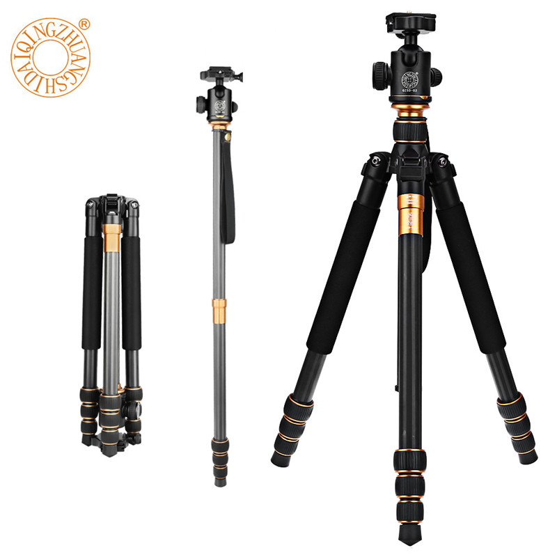 Tripod QZSD Q999C 62.2 Inches Carbon Fiber Camera Video Tripod Monopod with Quick Release Plate For Canon Nikon Sony DSLR Camera dhl free 2017 new professional tripod qzsd q999 aluminium alloy camera video tripod monopod for canon nikon sony dslr cameras