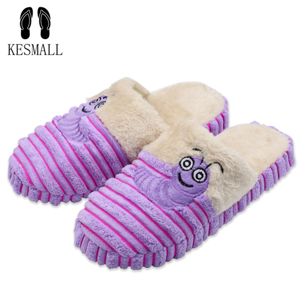 KESMALL Winter Warm Women Shoes Caterpillar Plush Cotton Soft Slippers Couple Indoor Non-slip Soft Bottom Floor Slippers S19 winter new women s warm cotton shoes snowflake deer pattern indoor shoes soft bottom non slip floor home slipper