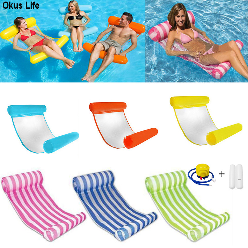 Summer Air Mattress Foldable Swimming Pool Inflatable Bed With Cushion Beach Inflatable Float Bed Beach Outdoor Chair Hammock