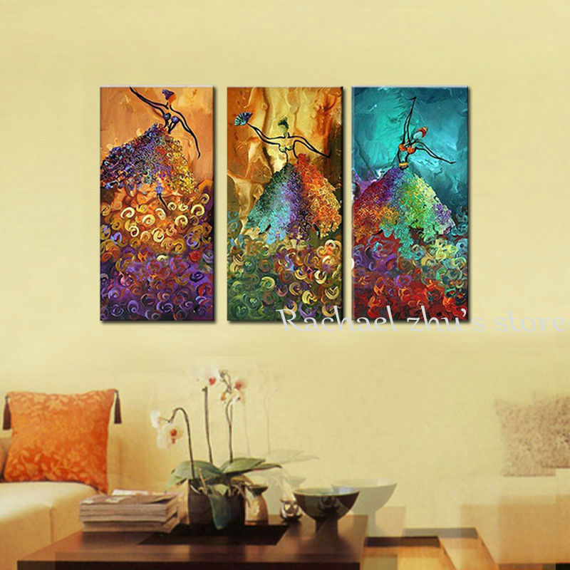 Hand Painted Modern Abstract Dancer Oil Painting On Canvas Three ...