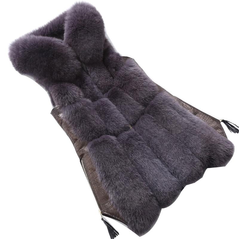 Winter Noble Womens Fur Jacket Faux Fox Fur Vest Coat Fashion Hooded Fur Waistcoat Side Zipper Stitching Leather Warm Outwear