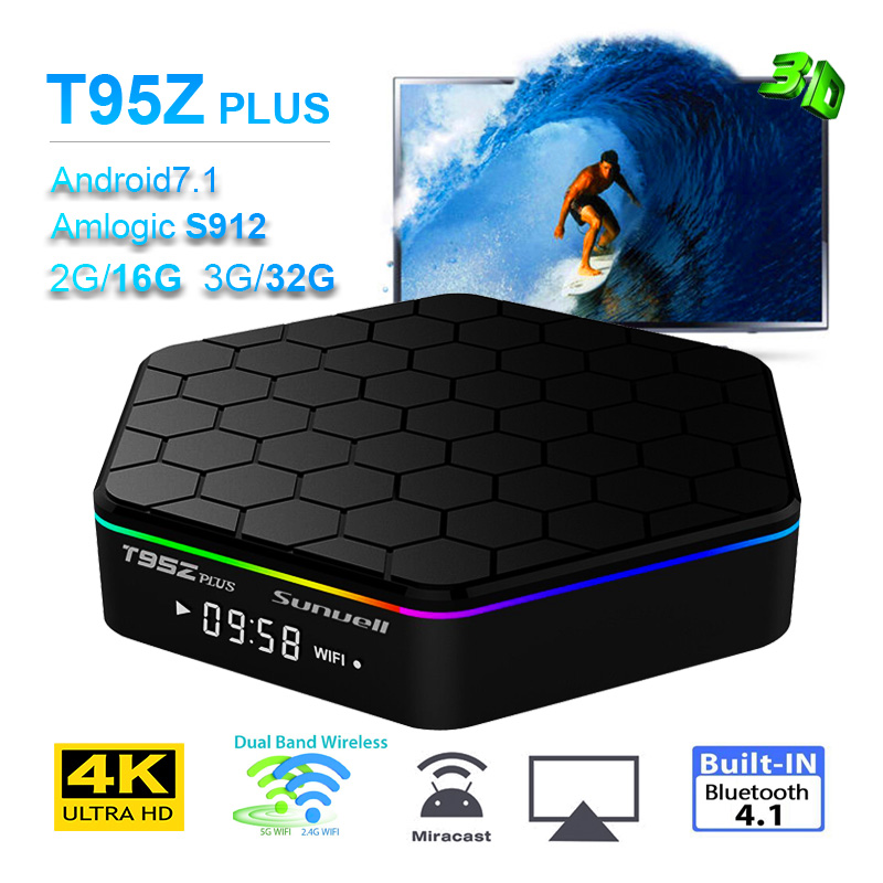 New T95Z Plus Smart Andorid 7.1 TV BOX 2GB/16GB 3GB/32GB Amlogic S912 Octa Core 4K 2.4G/5GHz WiFi BT4.0 Set Top Box 10pcs vontar x92 3gb 32gb android 7 1 smart tv box amlogic s912 octa core cpu 2 4g 5g 4k h 265 set top box smart tv box