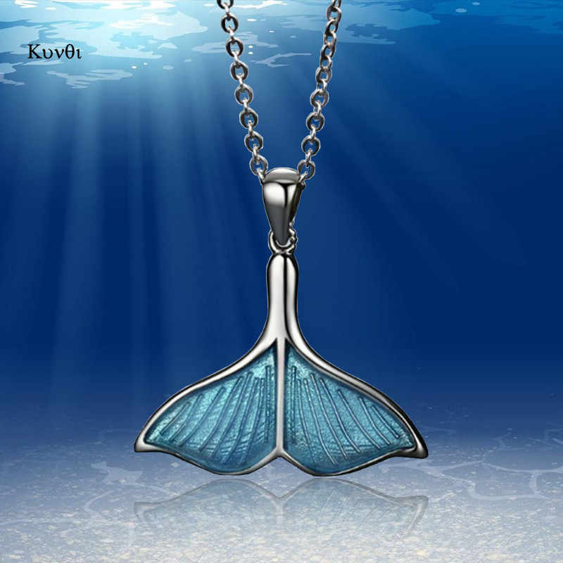 New Retro Women Whale Necklace BlueTail Fish Nautical Chokers Charm Mermaid Tail Pendant Necklace Sliver Jewelry For Women Girl