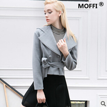Free shipping spring 2016 new European women short paragraph Long-sleeved belt silhouette Loose woolen coat cheap wholesale