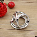 2015 New Sex Products for Men Penis Male Chastity Belt Stainless Steel Cock Rings, Metal Penis Ring with Three Sex Toys for Men