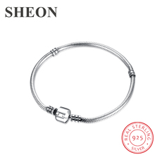 SHEON 100% 925 Sterling Silver Snake Chain Basic Chain Fit Original Pandora Charms Beads  DIY Bracelet for Women Fashion Jewelry sheon 100