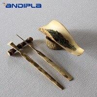 5PCS Set Natural Mottled Bamboo Handmade Chahe Teaspoon Tea Needle with Holder Teaware Tea Set Accessories Cha Ze Tea Puller