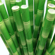 25pcs/lot Green Theme Paper Straws Happy Birthday Wedding Decorative Event Party Supplies Environmental Drinking Straw