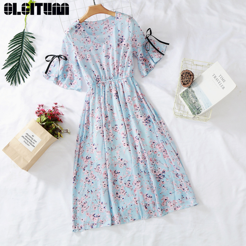 New Dress 2020 Women's Chiffon Print V-neck Dress Spring and Summer Ruffled Short-sleeved Bow Dress Large Size Vestido DR1058