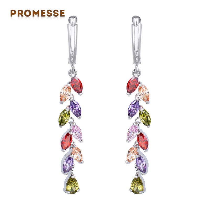 New Free Shipping Luxurious Multicoloured Crystal Earrings for Women Long Bridal Dangle Earrings Wedding Accessories GLE4145D