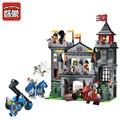 Enlighten 568 unids medieval león castillo caballero carro modelo monta los bloques huecos de ladrillos juguetes para niños de regalos
