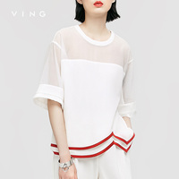 VING Blouses 2016 Summer Wommen Hollow Out Patchwork Printed Chiffon Half Shirt