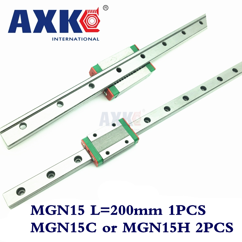 New Arrival Cnc Router Parts Linear Rail AXK 200mm Mgn15 Linear Guide Rail + 2pc Mgn Mgn15c or MGN15H Blocks Carriage Cnc linear rail cnc router parts axk 1pc 15mm width 250mm mgn15 linear guide rail 2pc mgn mgn15c or mgn15h blocks carriage cnc