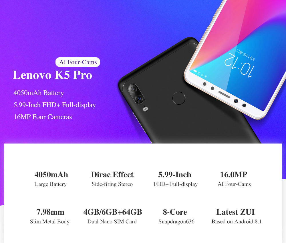 Global Version Lenovo K5 Pro 4GB 64GB Snapdragon636 Octa Core Smartphone Four Cameras 5.99inch 189 4G LTE Phones 4050mAh (1)