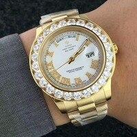 Golden Famous Brand Big Diamonds Watch Men Wrist Stainless Steel Timepiece Quartz Women Date Male Clock Ladies Designer Watch