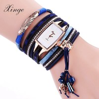 Xinge Brand Fashion Women Bracelet Watch Blue Original Design Stone Pendant Wristwatches Leather Vintage Quartz Watches