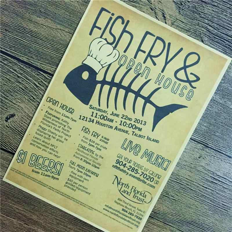 """البيع المباشر PSJ-184 ديكور المنزل ورق الكرافت """"الأسماك فراي"""" ل مطبخ الجدار ملصق خمر المشارك مقهى غرفة المعيشة 42x30 cm"""