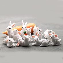 1 Pcs 12 Style Cute Rabbit Easter Miniature Hare Animal Figurine Resin Craft Mini Bunny Ornament fairy garden supplies(China)