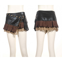 Steampunk Vintage Belt Short Ladies Lace Skirt Punk Gothic PU Leather Super Sexy Mini Skirts with Big Pocket